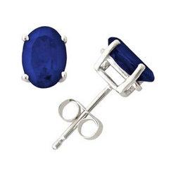 Oval Sapphire Earrings in 14k White Gold