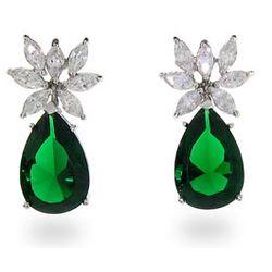 Fancy CZ Pear Drop Sterling Silver Emerald Earrings