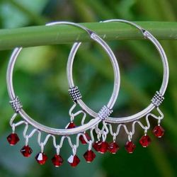 Classic Red Sterling Silver Hoop Earrings