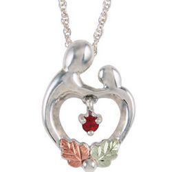 Sterling Silver Mother and Child Heart Birthstone Necklace