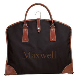 Personalized Suit Bag with Leather Trim