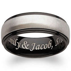 Engraved Black Titanium Two-Tone Beveled Band