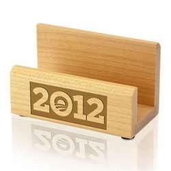Obama 2012 Wood Business Card Holder