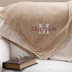 Initially Yours Embroidered Sherpa Blanket