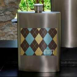 Personalized Argyle Flask