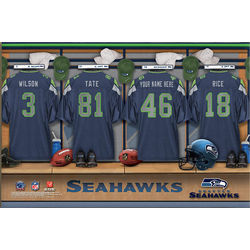 Seattle Seahawks 16x24 Personalized Locker Room Canvas Print