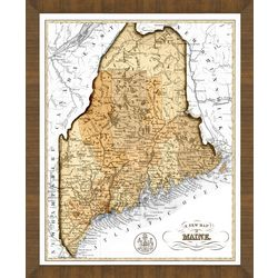 Old Map of Maine Framed Print