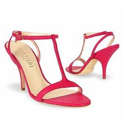 Magenta Calf Leather T-Strap Evening Sandals