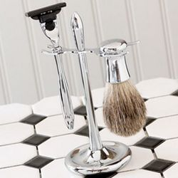 Personalized Razor and Badger Brush on Chrome Plated Stand