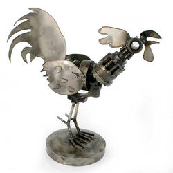 Rustic Rooster Auto Part Statuette