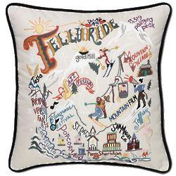 Hand Embroidered Ski Telluride Pillow