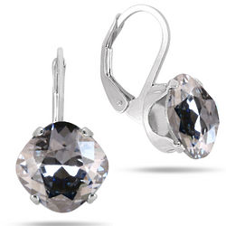 Cushion Cut Swarovski Element Crystal Lever Back Earrings
