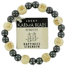 Lucky Karma Wood and Hematite Beads Bracelet