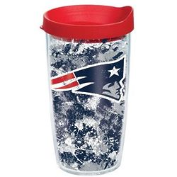 2 New England Patriots 16 Oz. Splatter Tervis Tumblers with Lids
