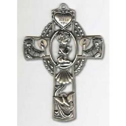 Praying Boy Pewter Baptismal Cross