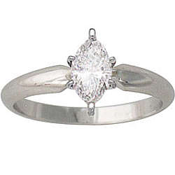 1/4 ct. Marquise Diamond Solitaire Ring in 14k White Gold