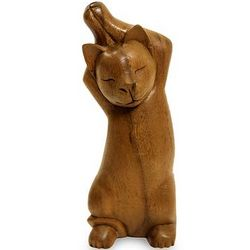 Kitty Cat Stretch Wood Sculpture