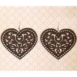 Romantic Wooden Filigree Heart Earrings