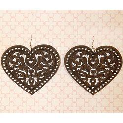 Romantic Wooden Filigree Heart Earrings