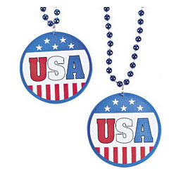 Patriotic Flag Beaded Necklace Favors