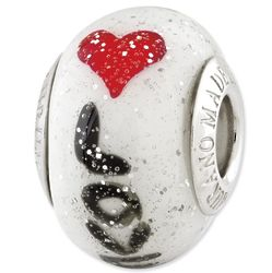 Love with Hearts Murano Glass Pandora Style Bead