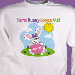 Some Bunny Loves Her Personalized Easter Youth Sweatshirt