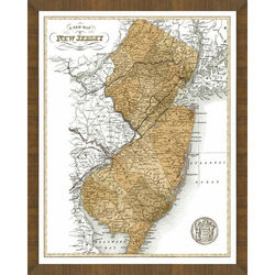 Old Map of New Jersey Framed Print