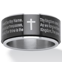 Stainless Steel Lord's Prayer Spinner Ring