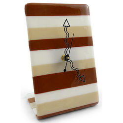 Contemporary Mocha Stripe Fused Glass Tabletop Clock
