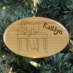 Girl's Engraved Computer Wooden Oval Ornament