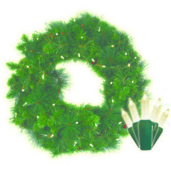 Battery-Operated Anchorage Fir LED Christmas Wreath