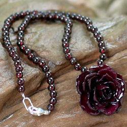 Natural Rose and Garnet Flower Necklace