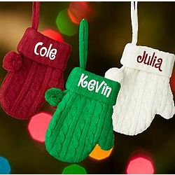 Personalized Cable Knit Mitten Ornament