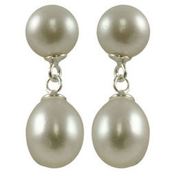 Dyed Grey Freshwater Pearl Drop Earrings in Sterling Silver