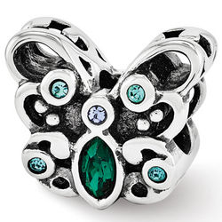 Sterling Silver Reflections Blue Green Swarovski Butterfly Bead