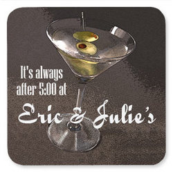 Personalized Martini with Olive Drink Coasters