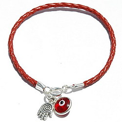 Spiral Hamsa Red Leather Bracelet