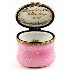 Baby Girl's Personalized Gold Porcelain Limoges Box