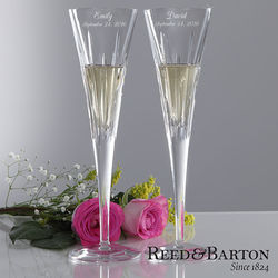 Personalized Crystal Champagne Flute Set