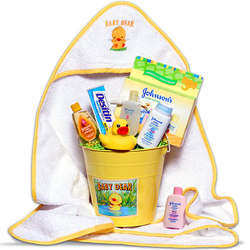 Baby's Bath Time Gift Basket in Yellow
