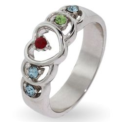Sterling Silver Heart Mother's Ring with Custom Birthstones