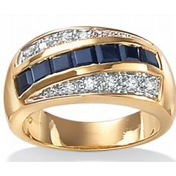 Men's Blue Sapphire with DiamonUltra Cubic Zirconia Ring