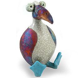 Blue-Footed Booby Raku Sculpture