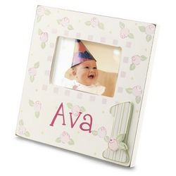 Hand-Painted Girl's First Birthday Picture Frame