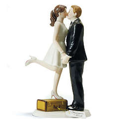 A Kiss and We're Off Honeymoon Couple Figurine