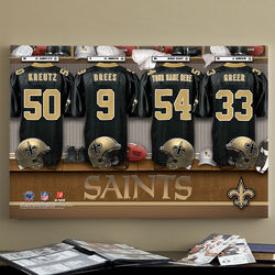 Personalized New Orleans Saints Locker Room Canvas Print