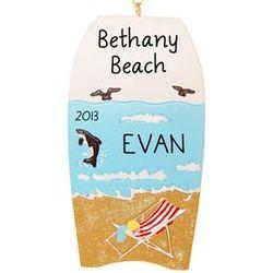 Personalized Beach Chair Scene Boogie Board Ornament