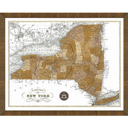 Wood Framed Old Map of New York