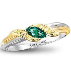 Pride of Oregon Ducks Emerald Embrace Ring