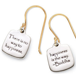Happiness Buddha Quote Earrings